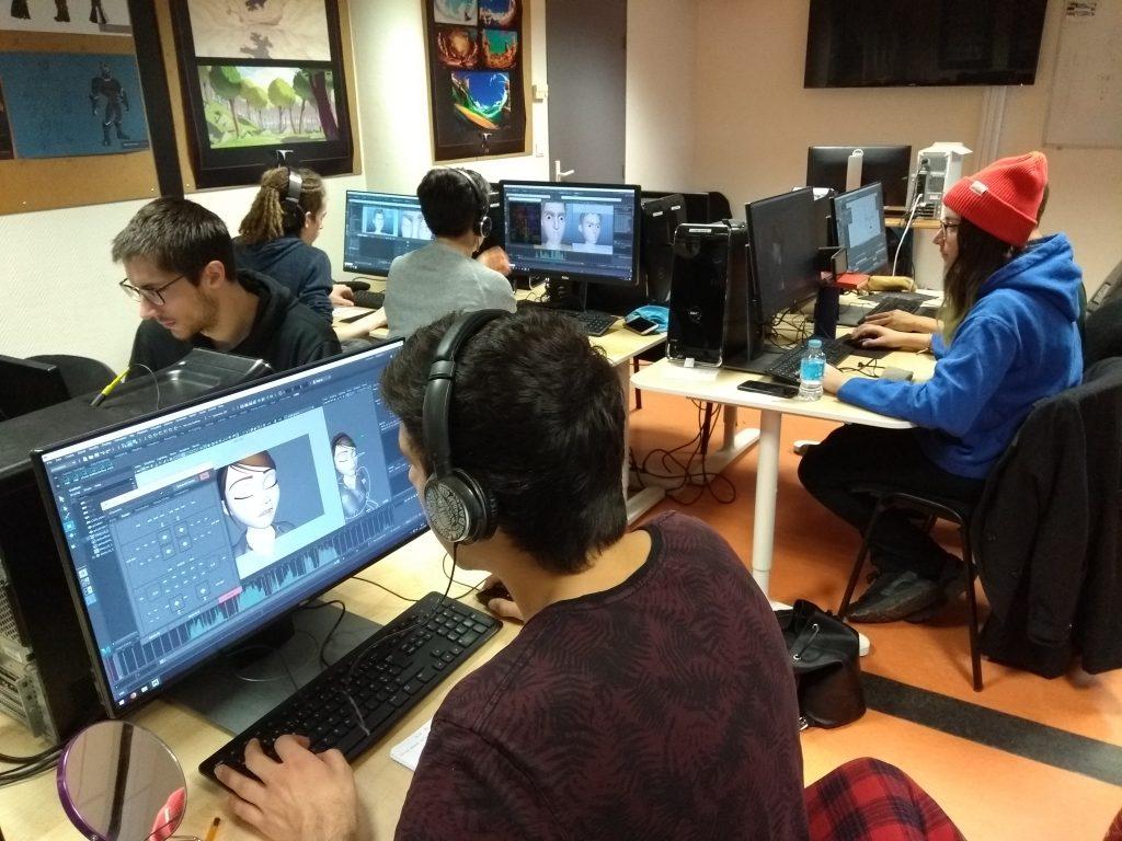 Students from ArtFx school work on Maya