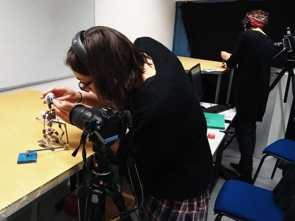 Student from Start-Motion training works on stop-motion puppet