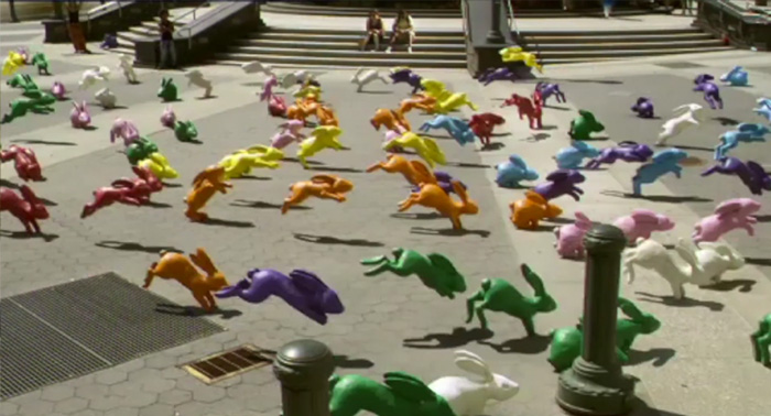 multicoloured bunnies in New York from Sony Bravia advert