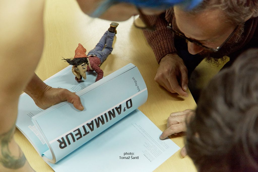 Koyaa crew and Koyaa puppet read Julia Peguet's book
